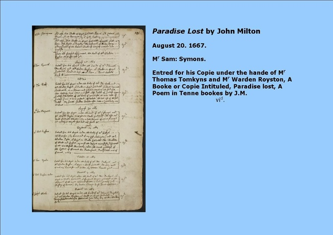 The Entry of Milton's Paradise Lost in the Stationers' Register